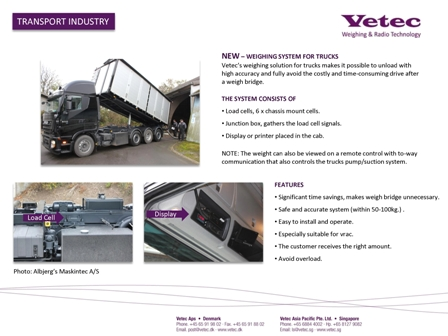 vetec crane lifting loadcell weighing systems for trucks