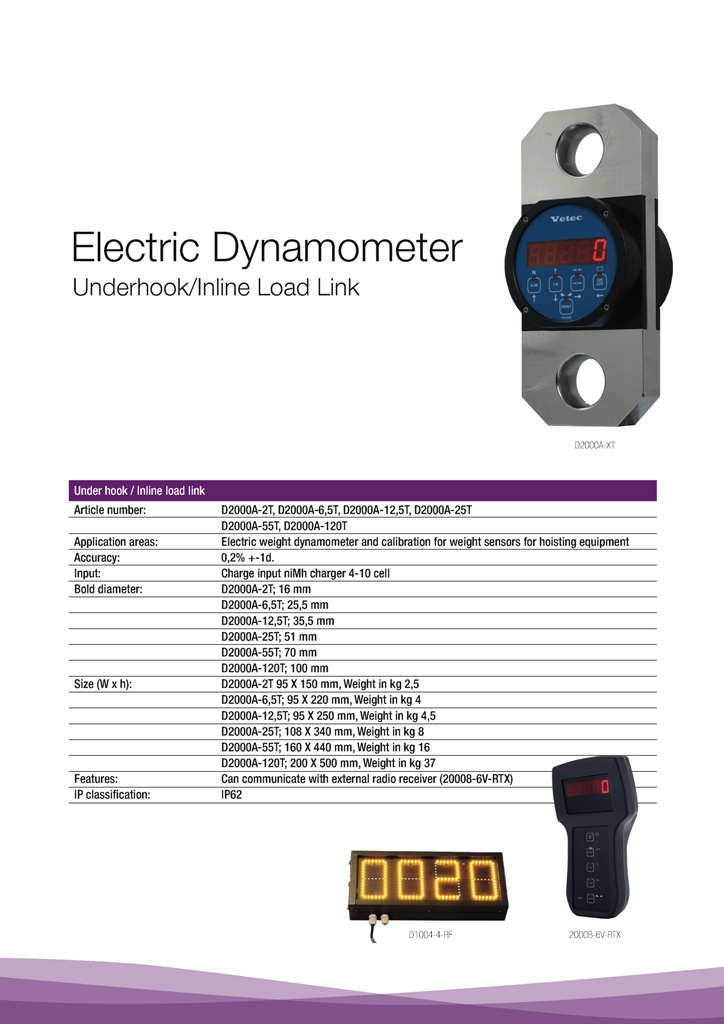 vetec crane lifting load dynamometer specification sheet in PDF version